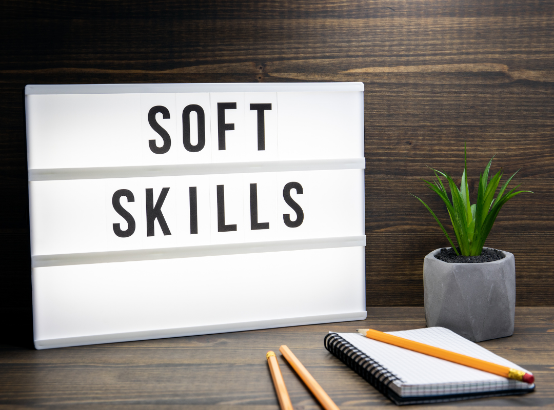 Board with the words Soft Skills